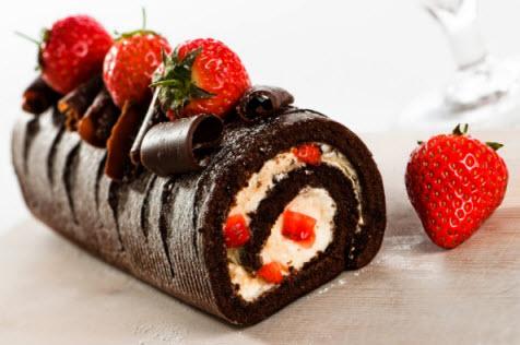 Kue Bolu Gulung Coklat Hitam Manis